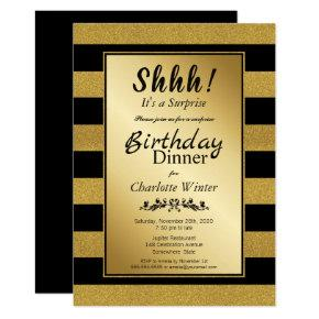 Black and Gold Glitter Surprise Birthday Dinner Invitation