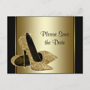 Black and Gold High Heel Shoe Save The Date Announcement Postcard
