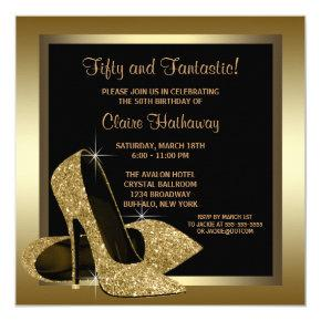 Black and Gold High Heels Womans 50th Birthday Invitations