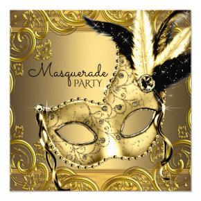 Black and Gold Masquerade Party Card
