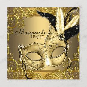 Black and Gold Masquerade Party Invitation