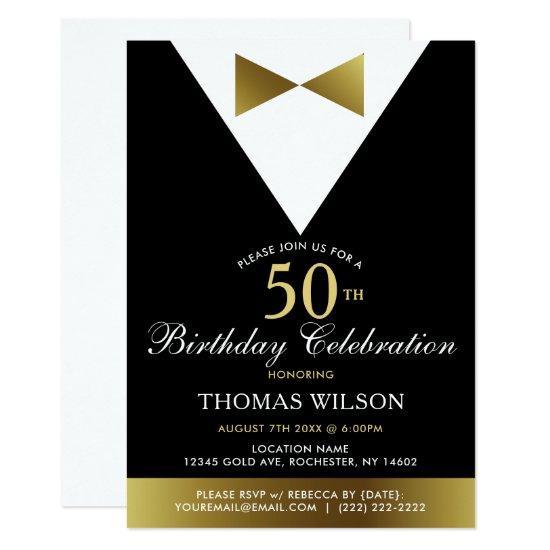 Black and gold tuxedo 50th birthday invitations candied clouds black and gold tuxedo 50th birthday invitations filmwisefo