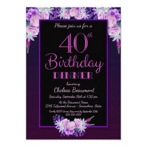 Black and Purple Floral 40th Birthday Dinner Party Invitation