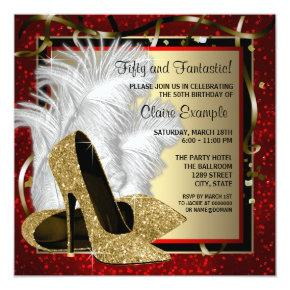 Black and Red and Gold High Heels Birthday Party Invitations