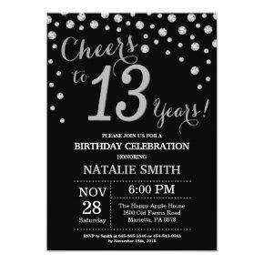 Black and Silver 13th Birthday Diamond Invitation