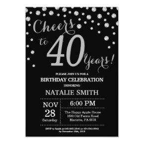 Black and Silver 40th Birthday Diamond Invitation