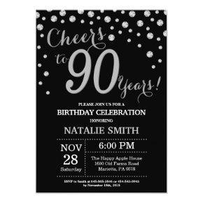 Black and Silver 90th Birthday Diamond Invitations