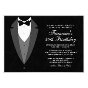 Black And White Birthday Invitation With Tuxedo