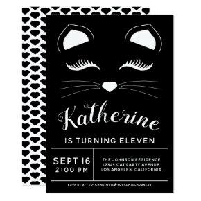 Black and White Cat Birthday Party Invitations