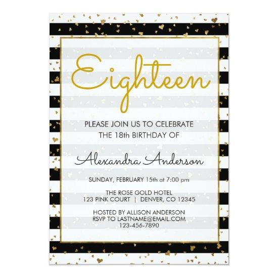 Black And White Gold Foil Hearts 18th Birthday Invitation
