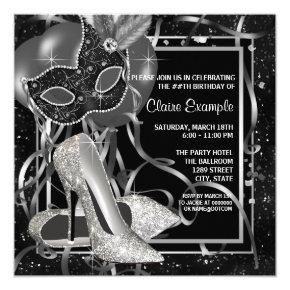 Black and White High Heels Birthday Party Invitation