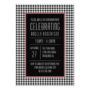 Black and White Houndstooth Birthday Invitations