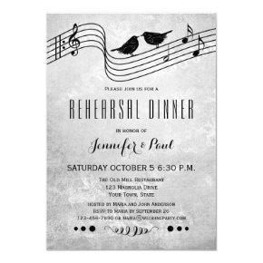 Black and White Music Rehearsal Dinner Invitation