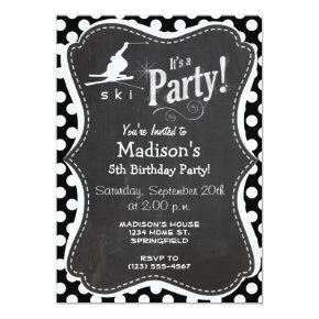 Black and White Polka Dots; Snow Ski Invitation