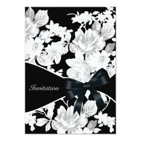 Black and White Rose Birthday Party Invitation