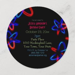 Black Blue Red Laser Neon Lights Birthday Invitation