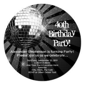 Black Circle Round Disco Ball 40th Birthday Party Invitations