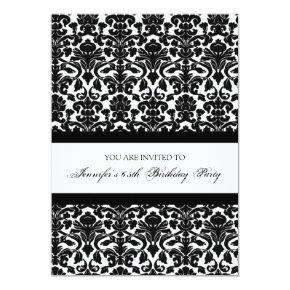 Black Damask 65th Birthday Party Invitations