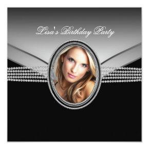 Black Diamond Womans Photo Birthday Party Card