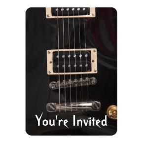 Electric guitar birthday invitations candied clouds black electric guitar birthday party invitations filmwisefo