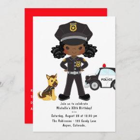 Black Girl Police Officer Party Birthday Invitation