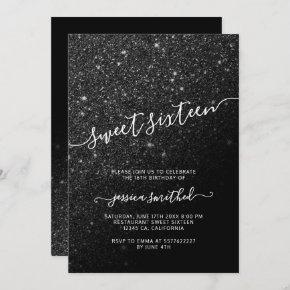 black glitter elegant chic typography Sweet 16 Invitation