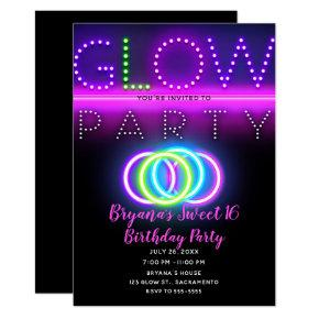 Black Glow Party Neon Lights Birthday Party Invitation