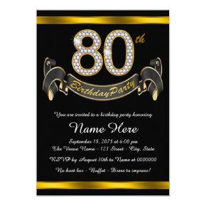 Black Gold 80th Birthday Party Card