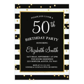 Black & Gold Confetti Birthday Invitation