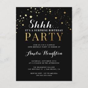 Black & Gold Confetti Shhh... Surprise Party Invitation Post