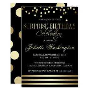 Black Gold Confetti Stripe Surprise Birthday Party Card