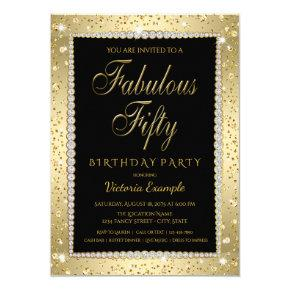 Black Gold Diamond Fabulous 50 Birthday Invitations