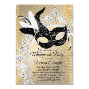 Black Gold Diamond Masquerade Birthday Party Invitation