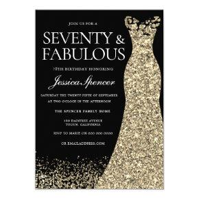 Black Gold Dress Seventy & Fabulous 70th Birthday Invitation
