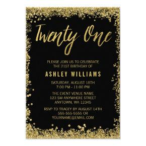 Black Gold Faux Glitter 21st Birthday