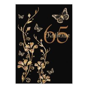 Black, Gold Flowers & Butterflies 65th Invitations