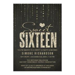 Black & Gold Glitter Look Sweet 16 (Sixteen) Party Invitations