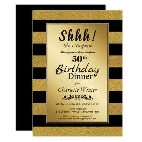 Black & Gold Glitter Surprise 50th Birthday Dinner Invitation