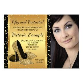 Black Gold High Heel Shoes Birthday Party Invitations