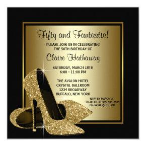 Black Gold High Heels Womans Birthday Party Invitations