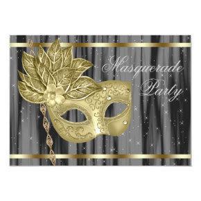 Black Gold Masquerade Party Invitation