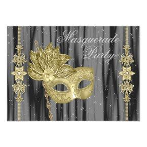Black Gold Masquerade Party Invitations
