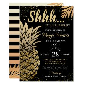 Black Gold Pineapple Surprise Retirement Party Invitation