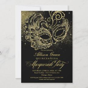 Black Gold Quinceanera Masquerade Invitation