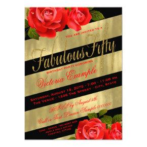 Fabulous 50 party red gold birthday invitations candied clouds black gold red rose 50th birthday invitation filmwisefo