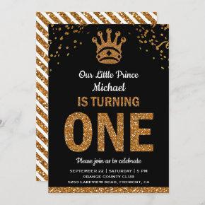 Black Gold Royal Prince First Birthday Invitation