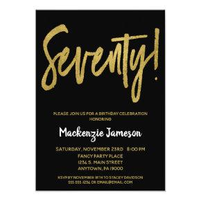 Black Gold Script 70th Birthday Party Invitation