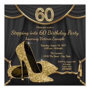 Black Gold Shoe Stepping into 60 Birthday Party Invitations