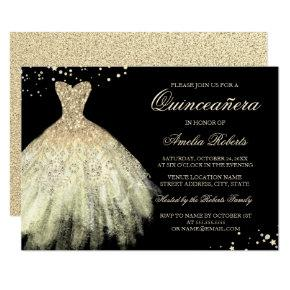 Black Gold Sparkle Dress Quinceanera Invitation