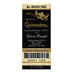 Black Gold Ticket Quinceanera Masquerade Party Invitations